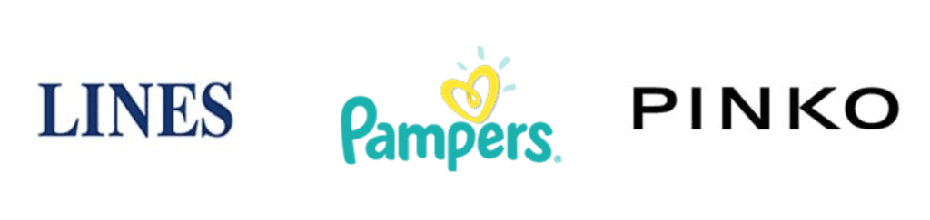 lines, pampers, pinko logo