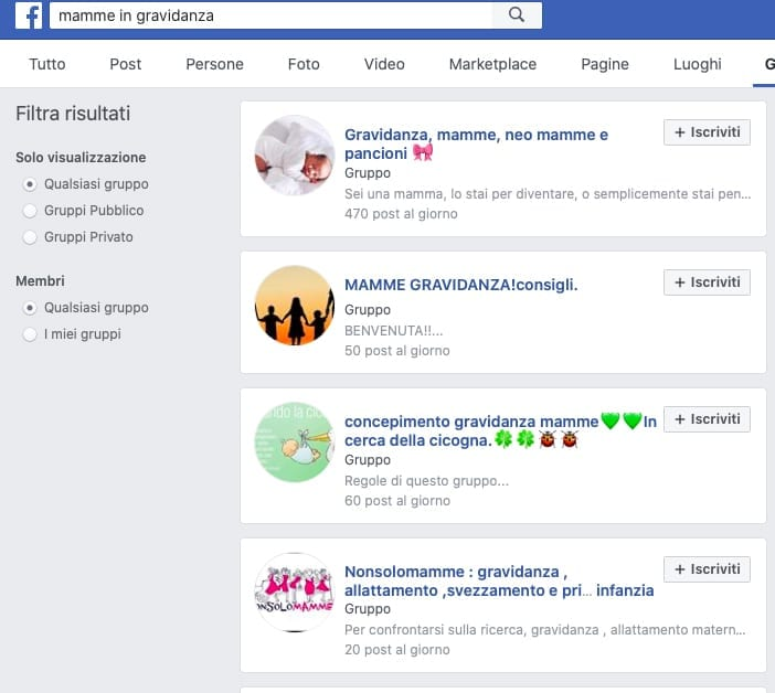 community online mamme in gravidanza fb